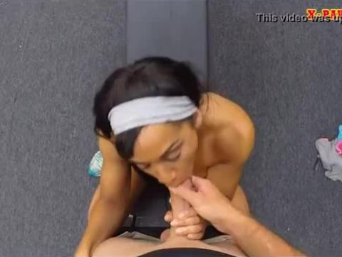Muscular chick slammed by nasty pawn guy in the backroom